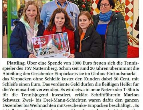 3000 Euro für fleißigen TSV Natternberg